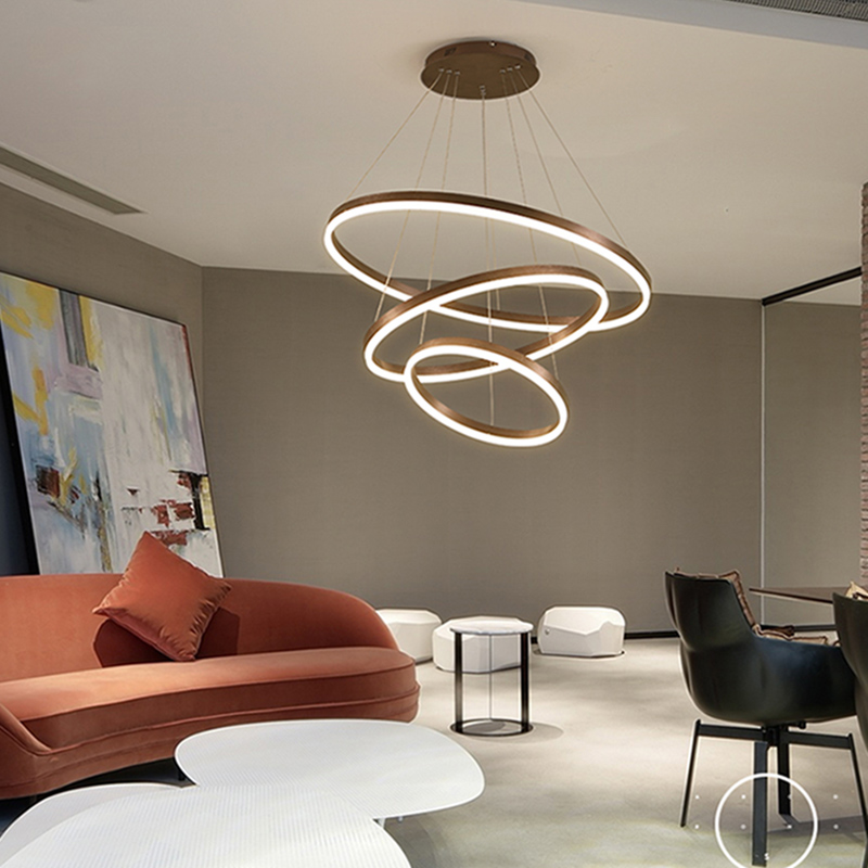 Circle Rings Brushed Coffee Color Led Chandelier Lamp For Dining room Living room Luminaire Modern LED Chandelier Fixtures designer coffee color modern led chandelier kitchen living dinging room light fixtures led hanging chandelier