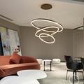 Kreis Ringe Gebürstet Kaffee Farbe Led Kronleuchter Lampe Für esszimmer wohnzimmer Leuchte Moderne LED Kronleuchter Leuchten-in Kronleuchter aus Licht & Beleuchtung bei