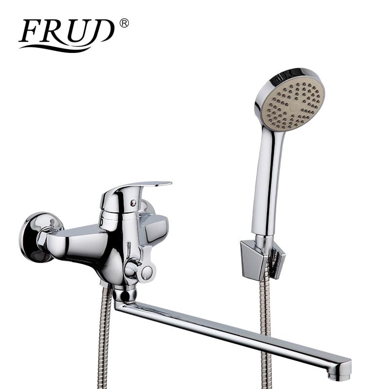 FRUD classique salle de bains douche robinet longueur sortie tourné en alliage de Zinc corps baignoire robinets eau chaude et froide ensemble de douche R22021