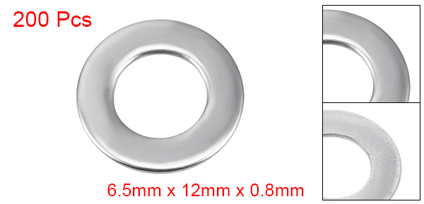 200 Pcs 10mm x 5mm x 0.8mm 304 Stainless Steel Flat Washer for Screw Bolt