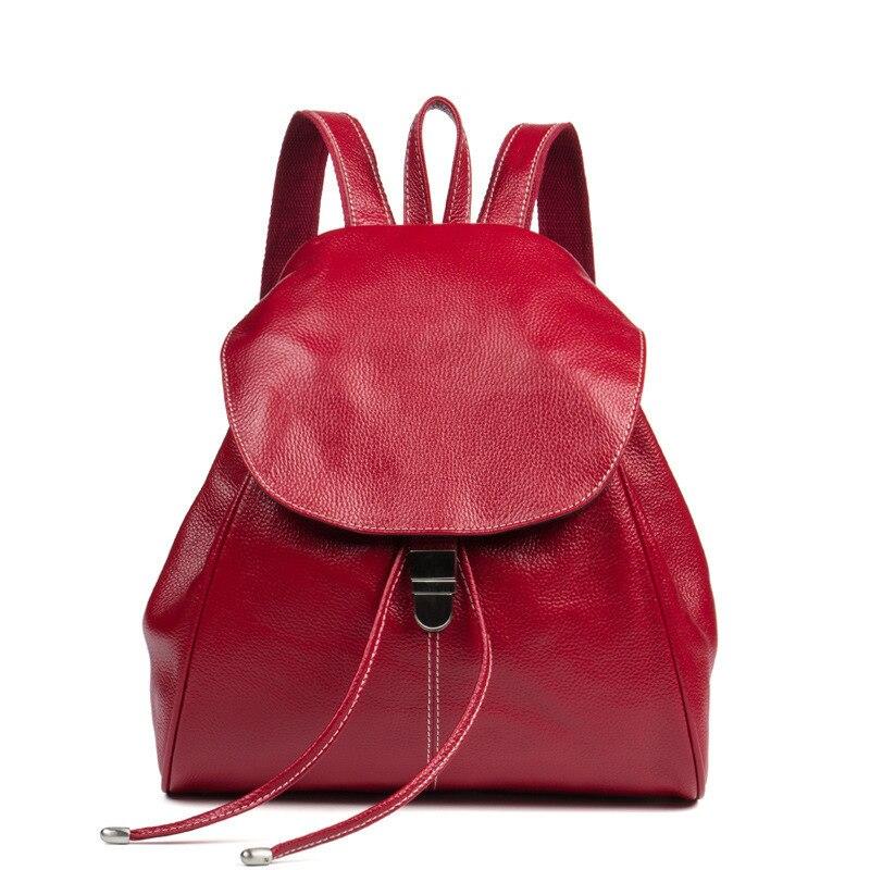 Top Quality Genuine Leather Women Casual Fashion Small Feminine Travel Kawaii Backpack Sac A Dos Bagpack Back Drawstring Bag - 2