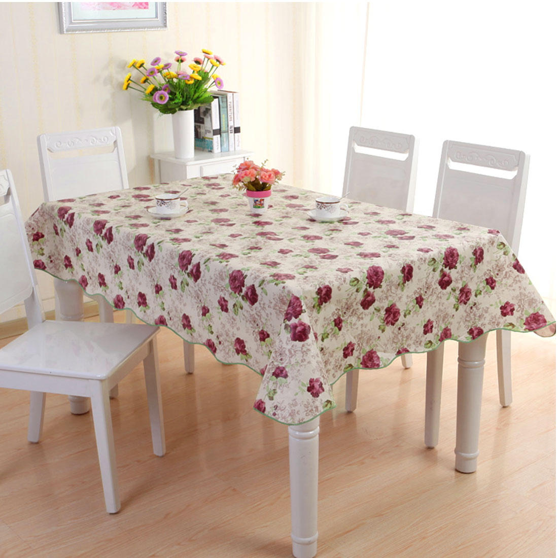 UXCELL Home Picnic Daisy Pattern Water Resistant Oil Proof Tablecloth Table  Cloth Cover 71 X 54 Inch
