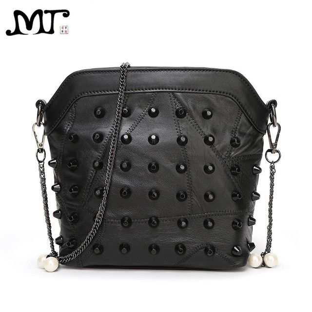 MJ Brand Design Female Bags Fashion Rivets Patchwork PU Leather Chain Bag  Lady s Cross Body Bucket 9ad36ccbf2