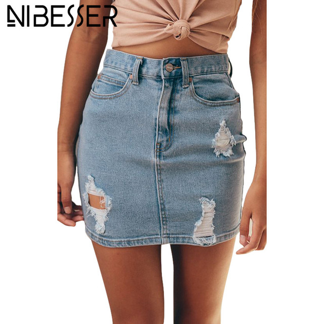 4d3ebc44b NIBESSER Pencil Denim Ripped Skirt Women Saia 2017 Sexy Hole Short Jean  Skirt Faldas Saia Female Summer Bodycon Skirt Bottom Z30
