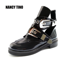 NANCY TINO New Women Ankle Motorcycle Martin Short Boots Hollow out Summer Shoes Patent Leather Fashion White Ladies Booties
