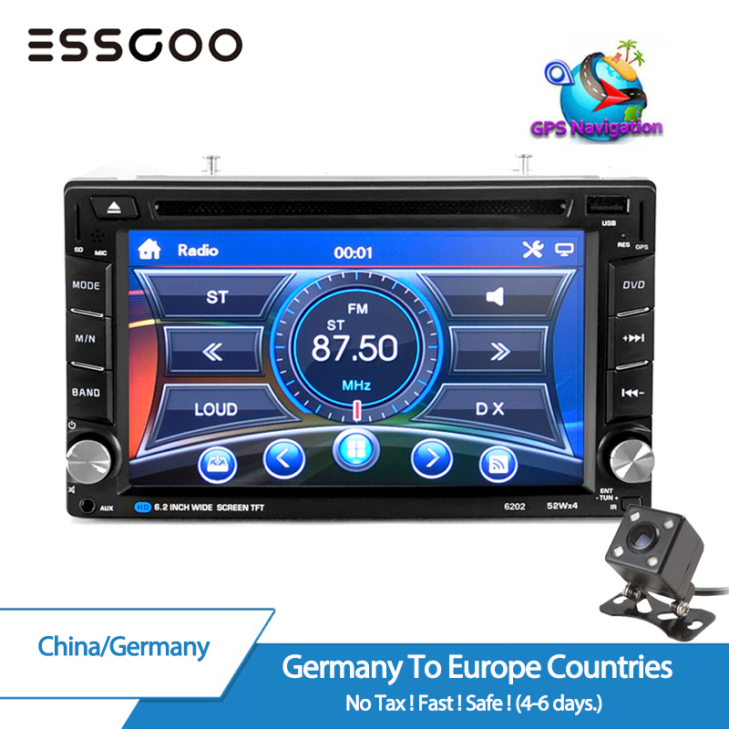 Essgoo 6.2 2 Din Car DVD GPS Radio Stereo MP5 Player Bluetooth USB Rear View Camera Navigator Audio Multimedia Player Free Map