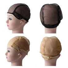 Купить с кэшбэком 10pcs/lot Lace Caps For Making Wigs With Adjustable Strap On Back Black Beige Color Medium Size Wig Caps Hairnet