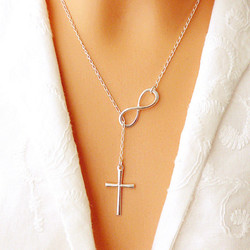 Горячая новинка 2020 Милая шикарная Бесконечность Крест Длинная цепочка Кулон модные ожерелья для женщин ювелирные изделия подарок