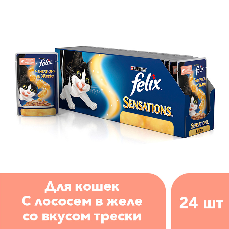 Wet food Felix Sensations for cats with salmon in jelly with cod flavor, Pouch, 24x85 g. 2oz stainless steel meat marinade injector flavor bbq turkey pork syinge with liquid minced marinade needles
