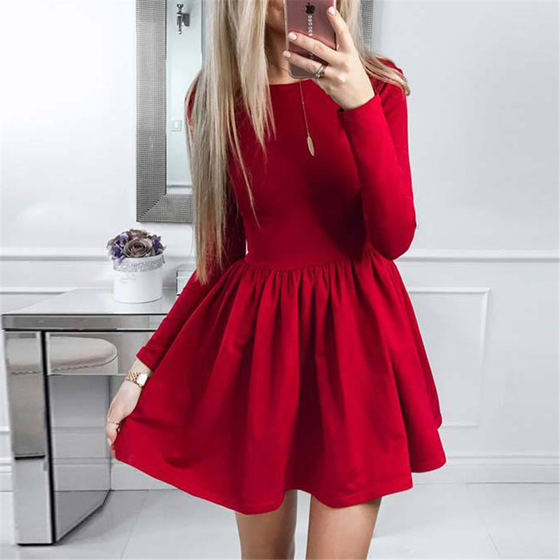 summer-dress-2018-new-fashion-women-long-sleeve-solid-ball-gown-casual-dress-o-neck-cute-mini-party-dresses-vestidos