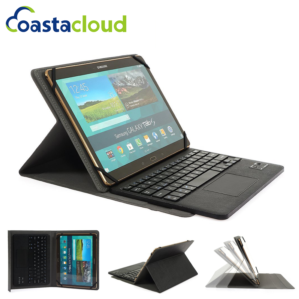 Universal Folio Case Stand With Bluetooth Keyboard Cover for Android Windows Fits for 9-10 inch Tablet with touch pad universal 61 key bluetooth keyboard w pu leather case for 7 8 tablet pc black