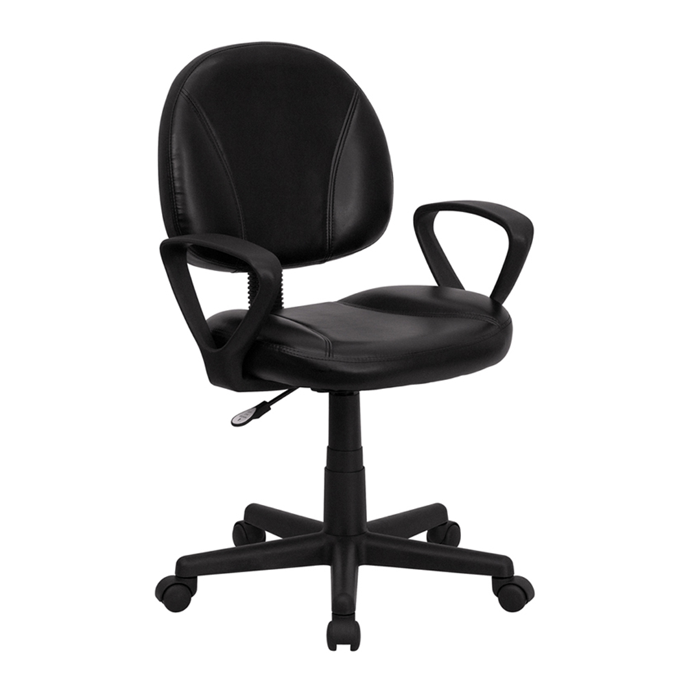 Flash Furniture Mid-Back Black Leather Ergonomic Task Chair with Arms [863-BT-688-BK-A-GG] 240337 ergonomic chair quality pu wheel household office chair computer chair 3d thick cushion high breathable mesh