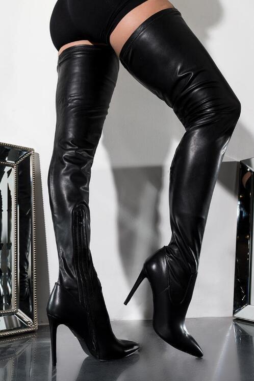 Pointu Bottes Stretch Longues Cuissardes Femme À Sexy Tissu 2019 Talons Prélèvement Noir Date Hauts Carole Minces Bout 7npaSX