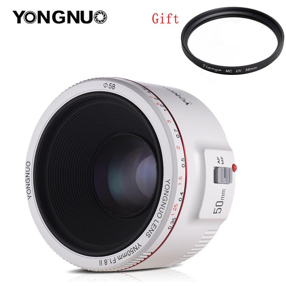 YONGNUO YN50mm F1.8 II большой апертурой Авто фокусная линза с супер боке эффект для Canon EOS 70D 5D2 5D3 600D DSLR камера (белый)