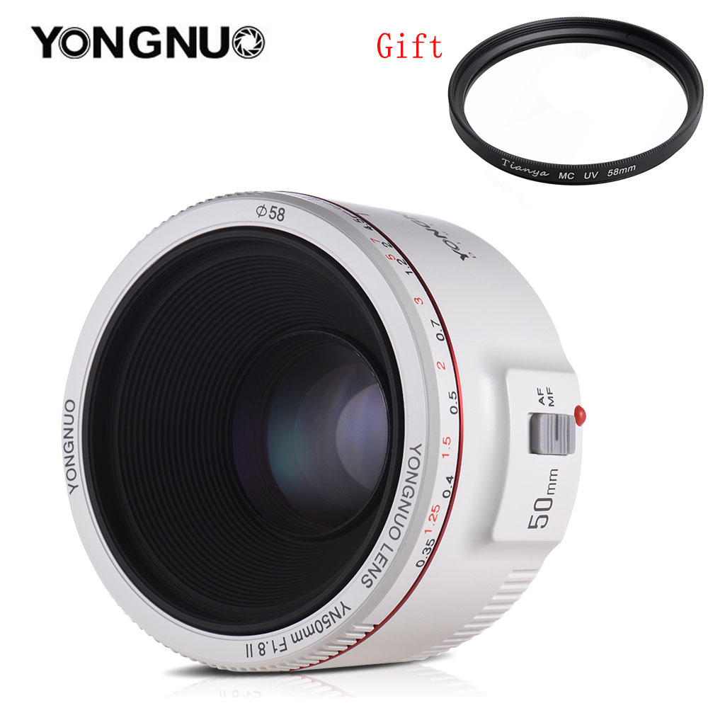 YONGNUO YN50mm F1.8 II Large Aperture Auto Focus Lens with Super Bokeh Effect for Canon EOS 70D 5D2 5D3 600D DSLR Camera (White) цена