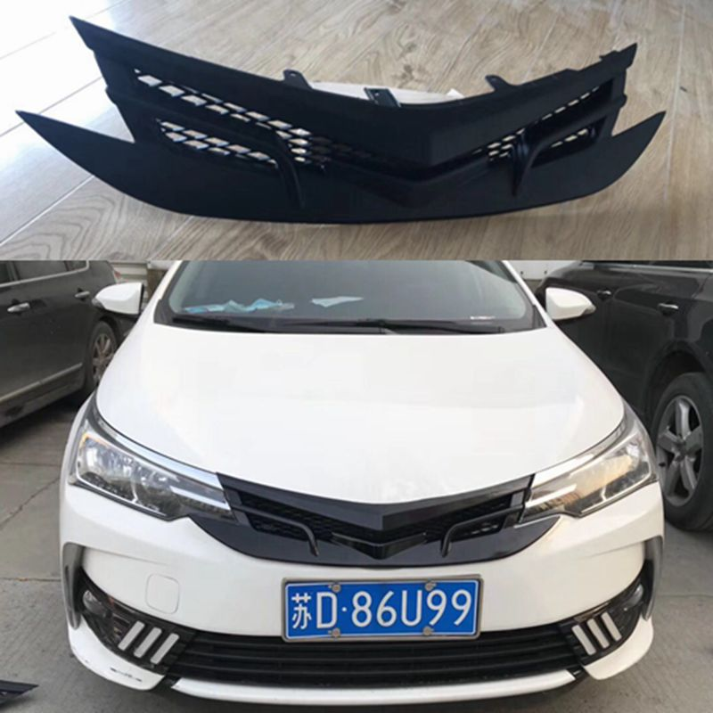 For Toyota Corolla 2017 2018 ABS Plastic GT Grille Modify Front Grilles Shiny Front Center Mesh Grills Decoration 1Pcs front grille trim highlight bar grand abs for 2011 2013 toyota corolla