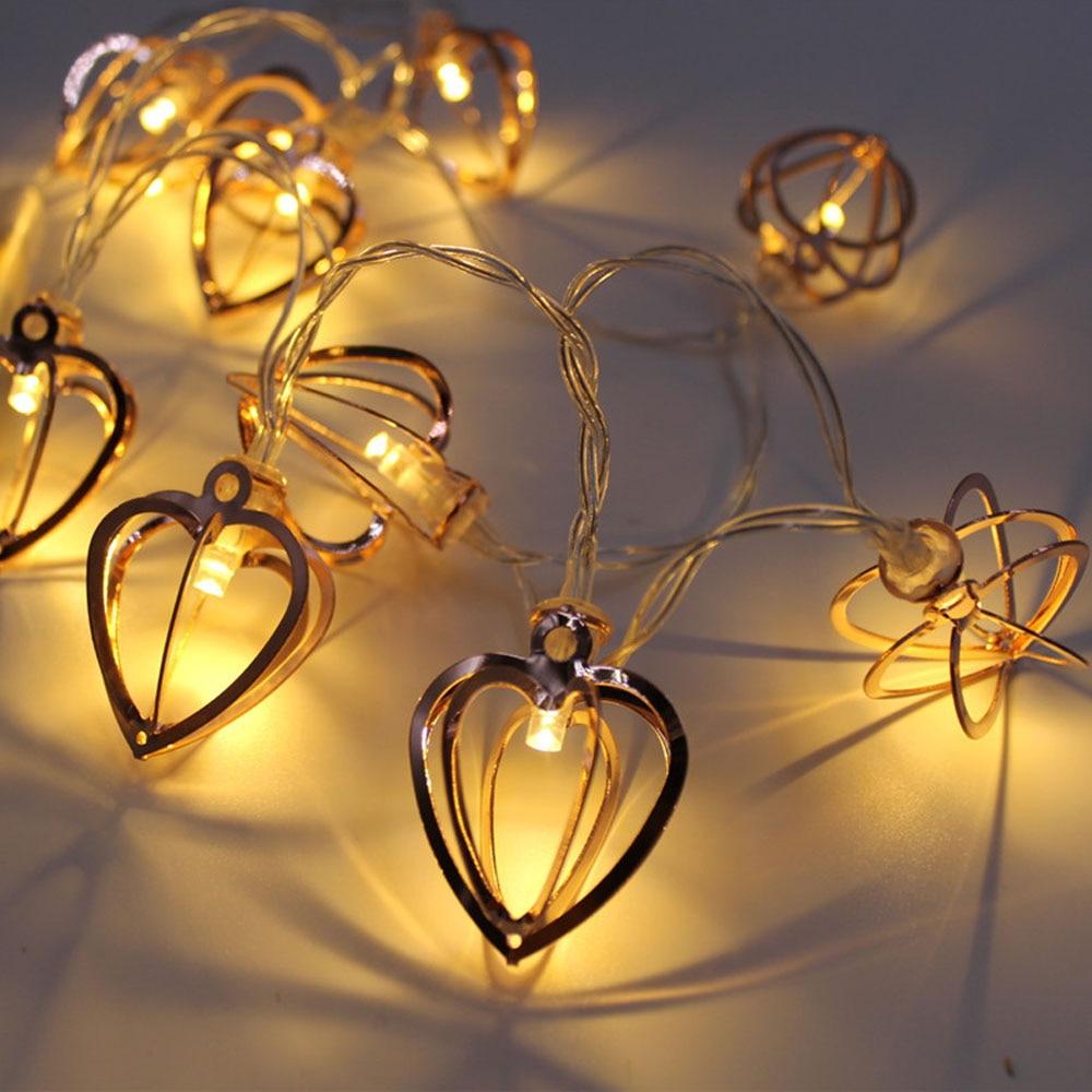 The New 10LED 20LED Iron Diamond Drop Love Battery String Light Night Light Children Bedroom Christmas Lamp String Decoration