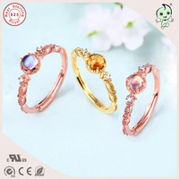 Hot Sale Popular Classic And Delicate Design Pink Gold 925 Real Silver Engagement Ring With different Natural Stones