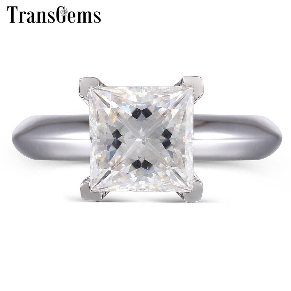 Transgems Princess Cut Moissanite Engagement Ring Gold for Women 1.3ct F Color 6MM Princess Moissanite Solid 14K White Gold цены онлайн