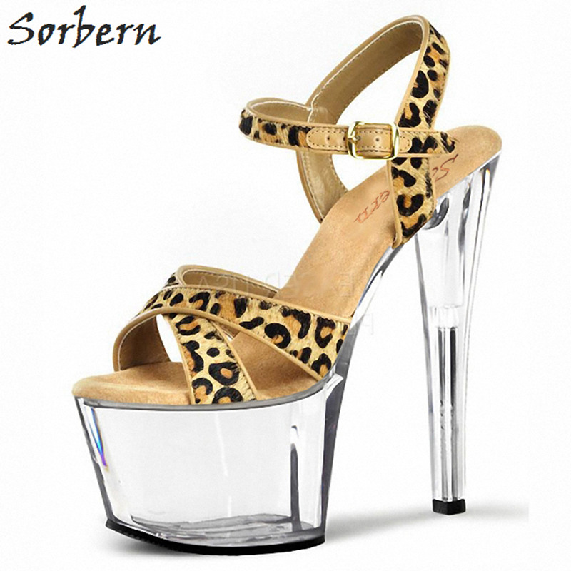 Sorbern Brown Leopard Horehair Sandals Spike High Heels Cross Straps Platform Shoes Summer Ladies Heels Gladiator Sandals Women casual women s sandals with platform and cross straps design