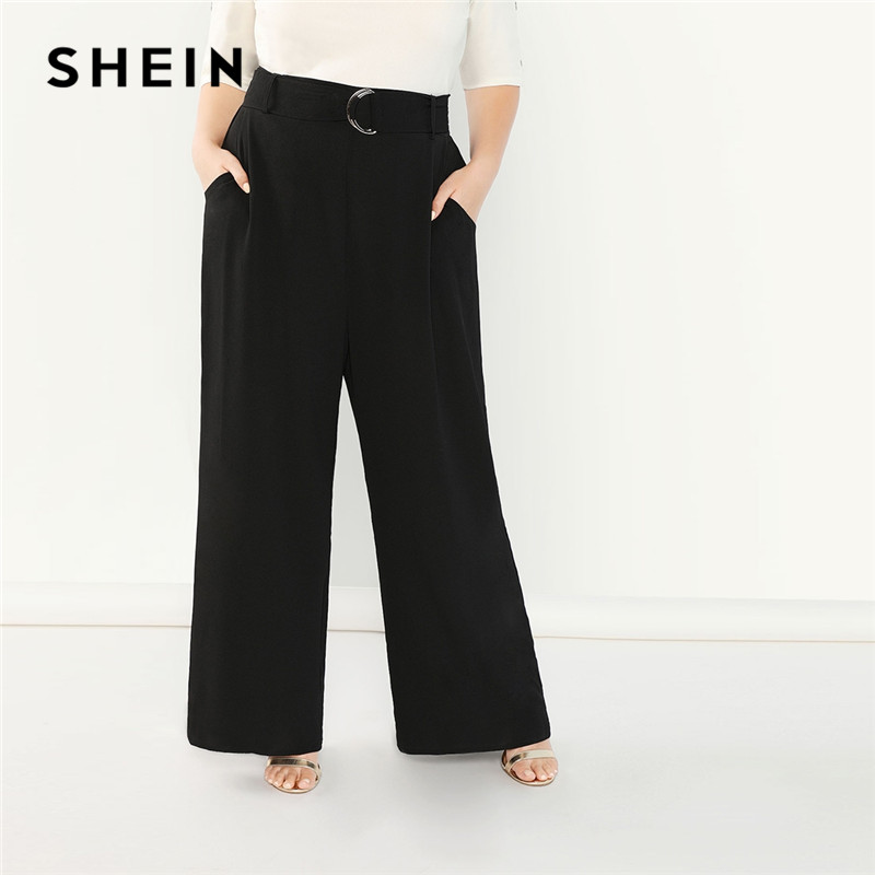 SHEIN Women Black Plus Size Adjustable Belted   Wide     Leg     Pants   Autumn 2018 Office Lady Workwear Solid Loose Trousers With Sashes