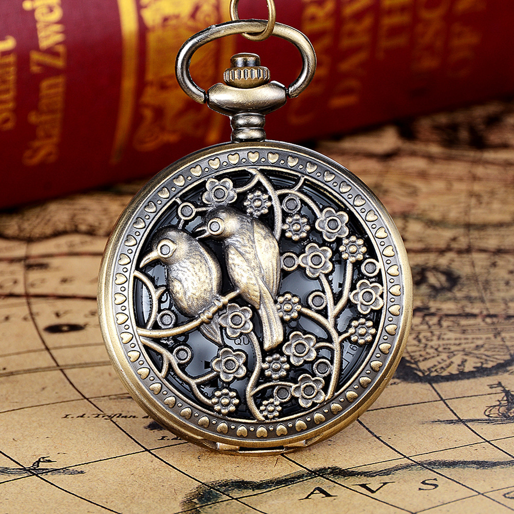 Creative Vintage Hollow Flower Bird Quartz Pocket Watch Pendant Chain Necklace style bird and pocket watch shape women s pendant necklace