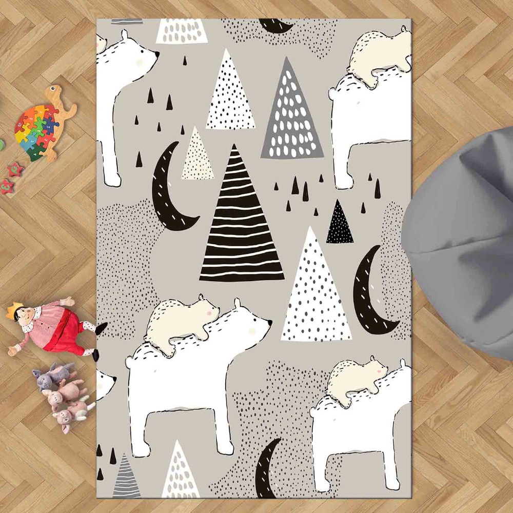 Else Black Gray Scandinavian White Tent Moon Star 3d Print Non Slip Microfiber Children Kids Room Decorative Area Rug Kids  Mat