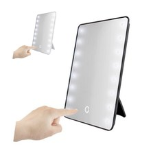 16 LED Lighted Makeup Mirror Portable Touch Screen Cosmetic Mirror  Adjustable Vanity Tabletop Countertop Mirrors 180 Rotating