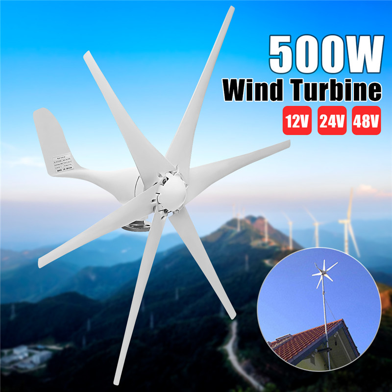 Big Promotion 500W Wind Generator 12V/24V/48V 6 Blades Auto Adjust Horizontal Wind Turbines Generator Home Wind Power Generator 500w ac 12v 24v 48v brushless rare earth permanent energy generator