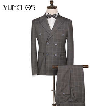 YUNCLOS 2 Pieces Classic Plaid Wedding Suit For Men Double Breasted Slim Fit  Men Tuxedos Party Dress Men Suit with Pant - DISCOUNT ITEM  45% OFF All Category