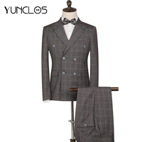 YUNCLOS 2 Pieces Classic Plaid Wedding Suit For Men Double Breasted Slim Fit Men Tuxedos Party Dress Men Suit with Pant