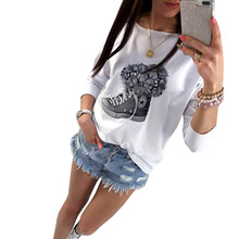 T-shirt Women Ladies Harajuku White Tops Loose Sexy flowers Shoes printed strapless long sleeves Casual T Shirts