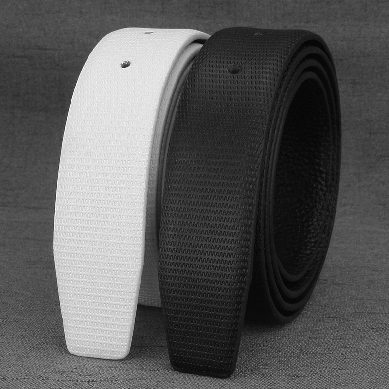 High Quality Only White Belts For Slide Buckle 3.3cm Genuine Leather Waist Strap Fashion  Waist Belt Without Buckle