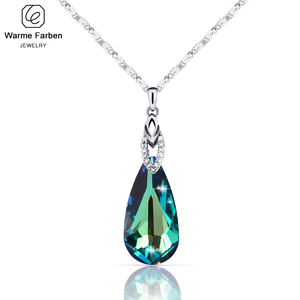 Image 1 - Warme Farben Crystal from Swarovski Necklace for Women Water Drop Shaped Crystal Pendant Necklace Jewelry Valentines Gift