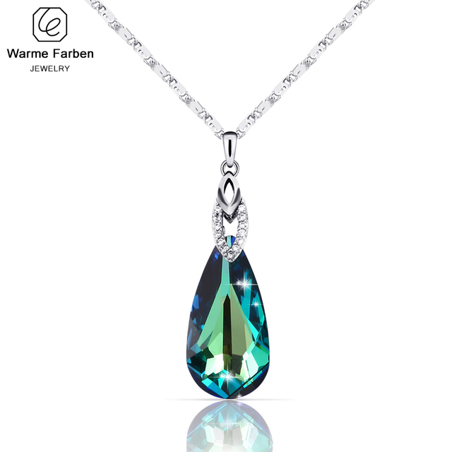 Warme Farben Crystal from Swarovski Necklace for Women Water Drop Shaped Crystal Pendant Necklace Jewelry Valentines Gift
