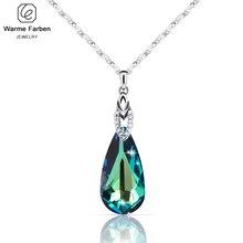 Warme farben cristal de swarovski colar para mulher gota de água em forma de cristal pingente colar jóias presente dos namorados