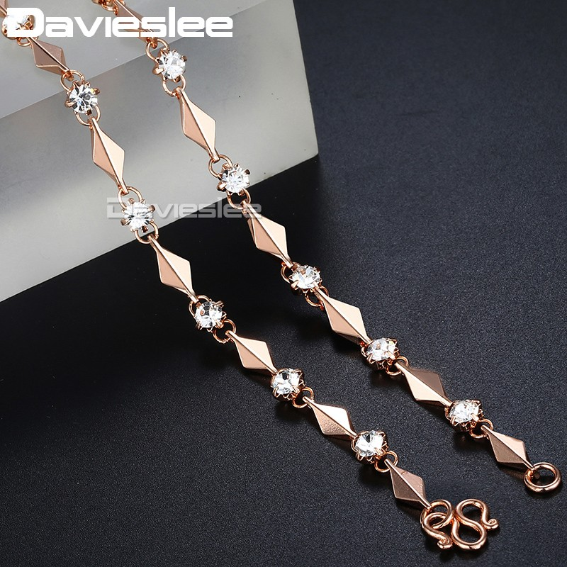 585 Rose Gold Filled Necklace for Women Rhinestones Link Womens Chain Necklace Jewelry Gift for Women 4mm 45cm GN238 stylish artificial crystals rhinestones oval necklace for women