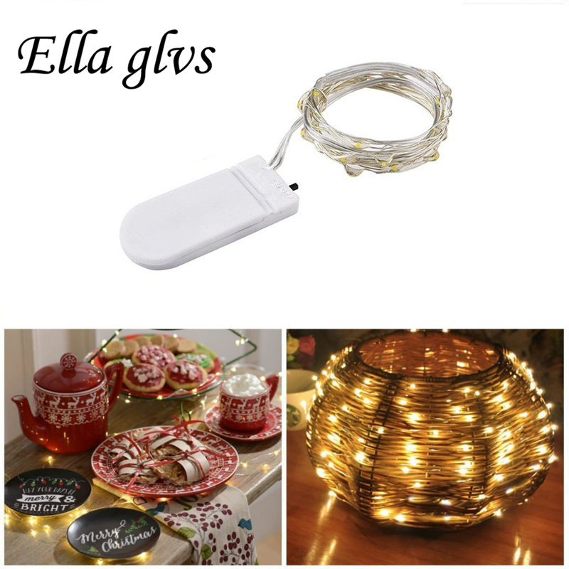 Led String Lights 1M 2M Battery Powered Silver Wire Waterproof  For Holiday Party Wedding Decoration Christmas Lights