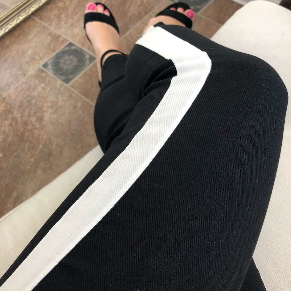 SweatyRocks Contrast Panel Side Skinny Ankle Jeans 2018 Summer Straight Leg Zipper Fly Pants Women Black Sporting Striped Pants