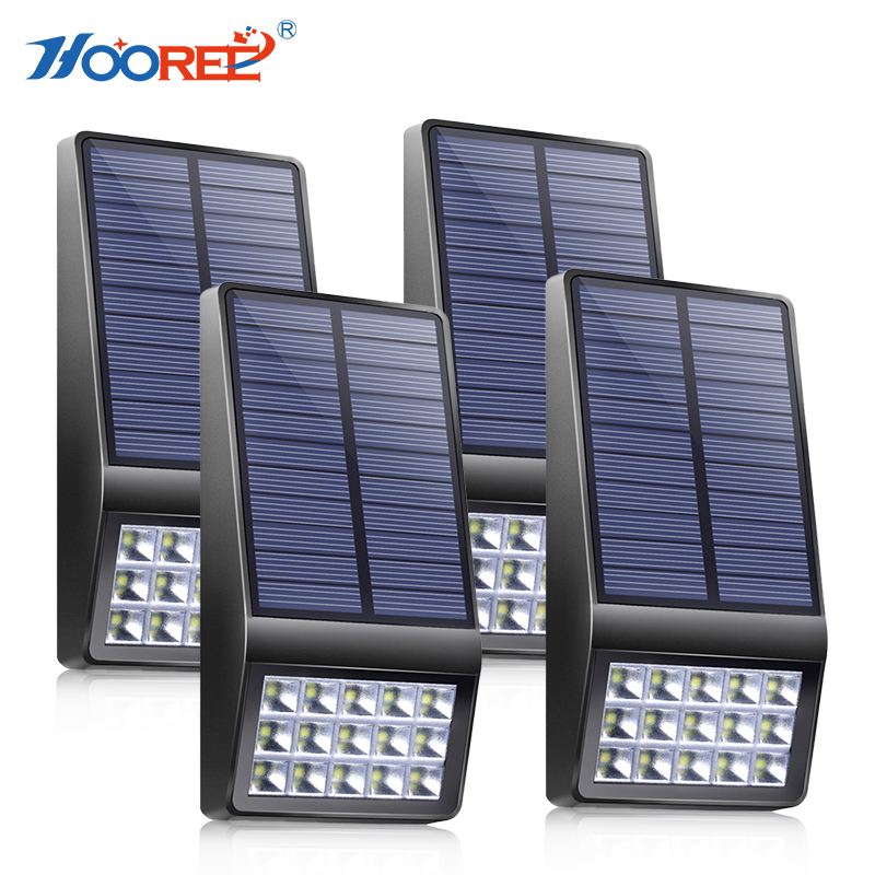 HOOREE 4PCS 15 LED Solar Light Outdoor Waterproof IP65 Energia Solar Lamp Garden Pathway Yard Wall Lamp Microwave InductionHOOREE 4PCS 15 LED Solar Light Outdoor Waterproof IP65 Energia Solar Lamp Garden Pathway Yard Wall Lamp Microwave Induction
