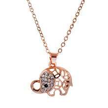 Lureme Fashion Sweet Style Alloy Lovely Elephant Shaped with Crystal Pendant Necklace for Teen Girl Clothing Jewelry Accessories