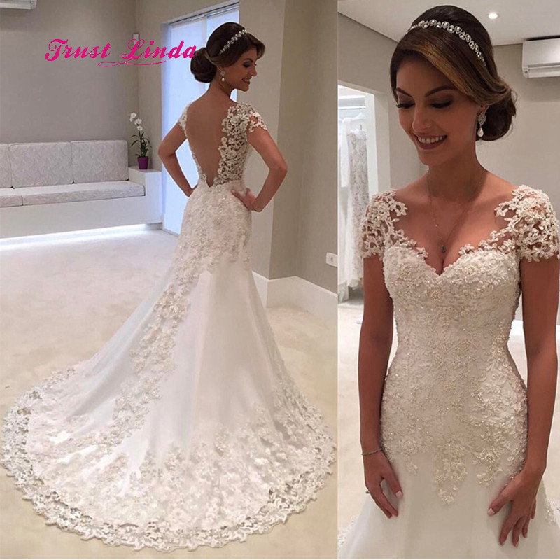 Wedding Dresses For Short Brides.Us 168 12 11 Off Lace Wedding Dress Short Sleeves V Neck Floor Length Brides Mother Dresses For Weddings A Line Godmother Dress Wedding In Mother Of