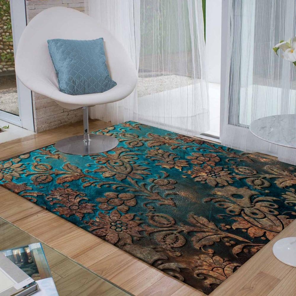 Else Green Brown Ottoman Turkish Vintage Floral 3d Print Non Slip Microfiber Living Room Decorative Modern Washable Area Rug Mat