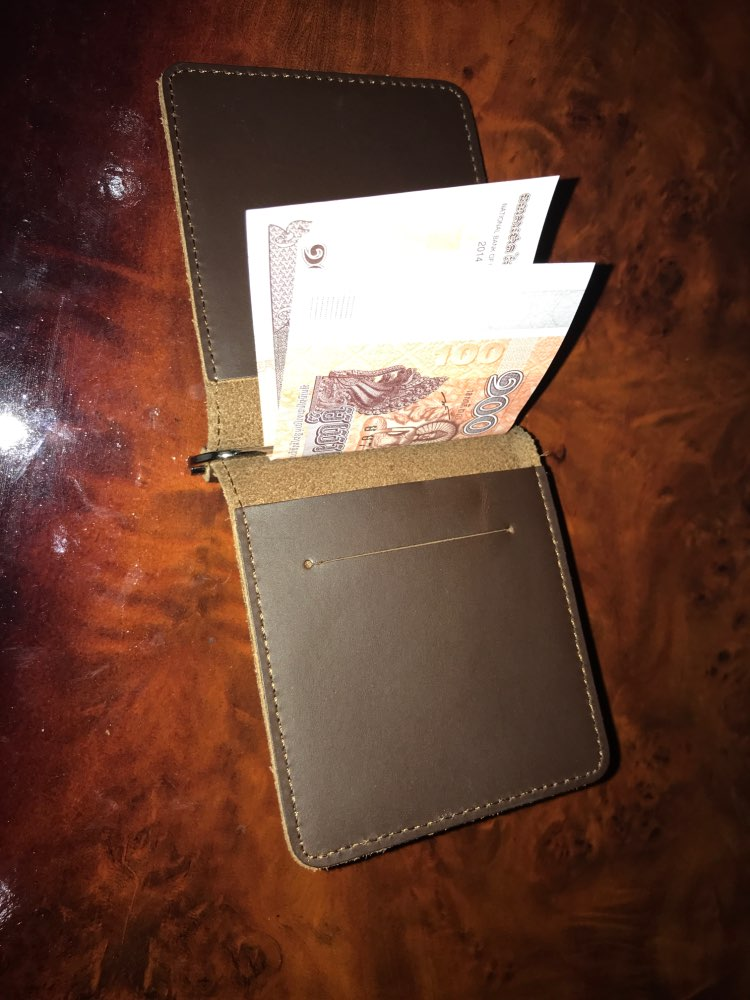 Handmade Money Clip Wallet Slim Genuine Leather with Metal Money Holder Wallet Vintage Stainless Mens Wallet Clip Bill Holder photo review