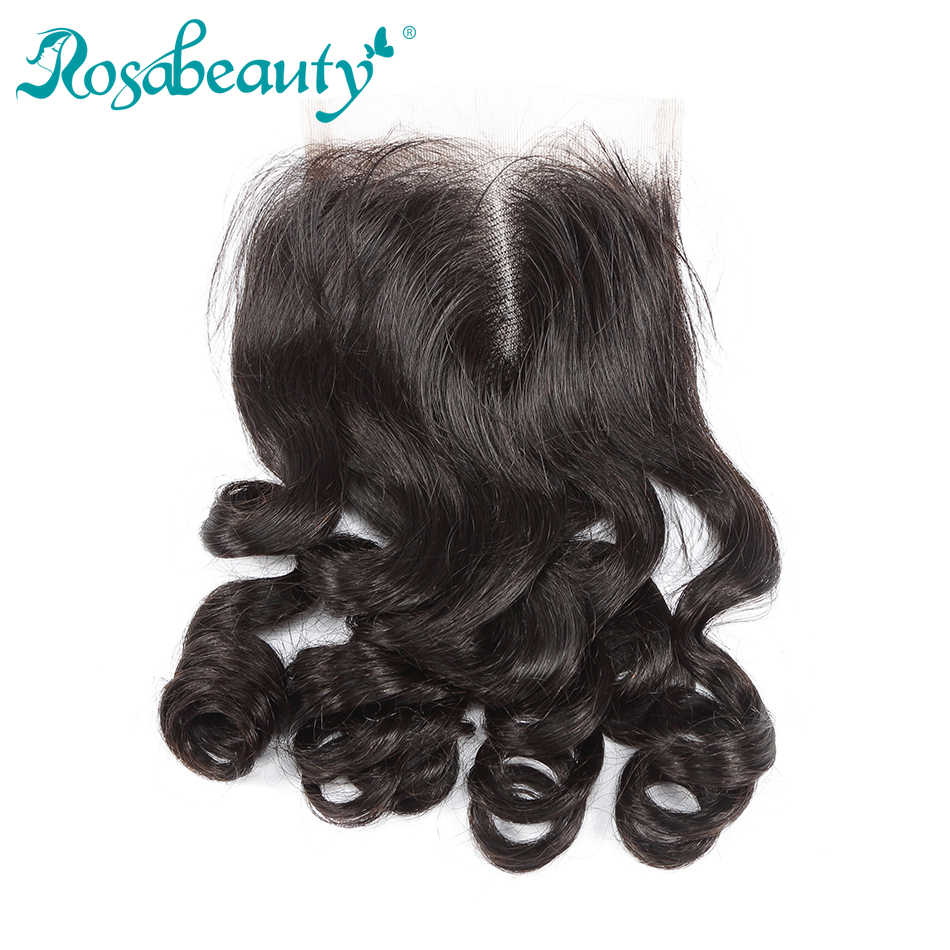 Rosabeauty Brazilian Remy Hair Lace Closure Loose Wave Human Hair 4X4 Swiss Lace with Baby Hair Shipping Free