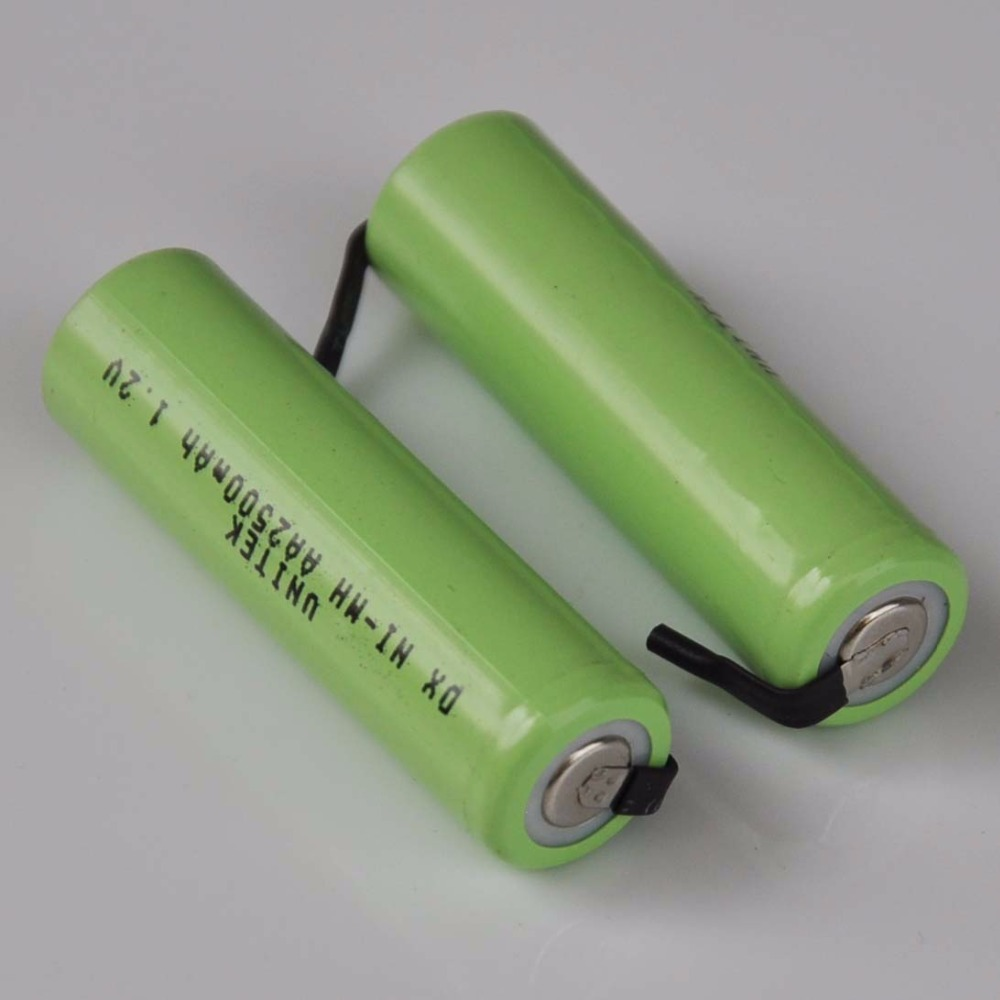 2-5PCS Ni-Mh 1.2V AA rechargeable battery 2500mah nimh cell with welding tabs for Philips Braun electric shaver razor toothbrush image