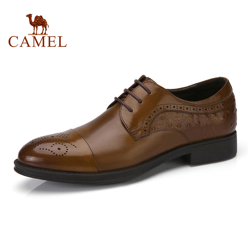 CAMEL Male Brogues Men Shoes Carved Man Genuine Leather Formal Business Oxford Business Wedding Patent Male