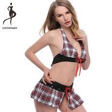 6f6cb7b737 Sexy Halter Uniform Costumes School Girls Blackless Lingerie Set Stripe  Corset