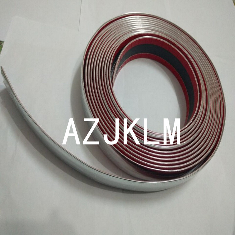 12 Meters One Roll 40mm Silver Chrome Self Adhesive Car Edge Styling Moulding Trim Strip For