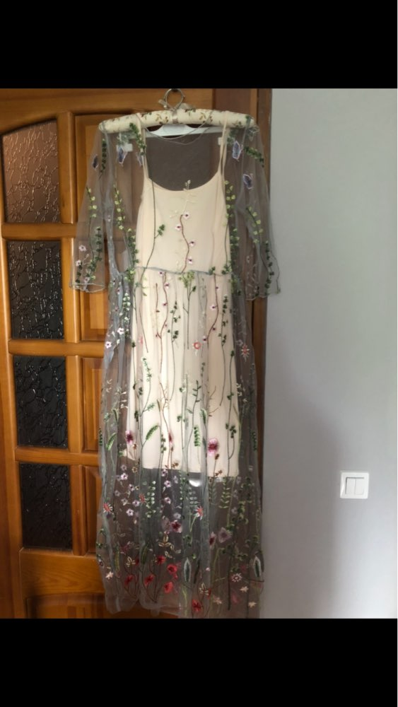 Party Dresses Runway Floral Bohemian Flower Embroidered 2 Pieces Vintage Boho Mesh Dresses For Women Vestido photo review